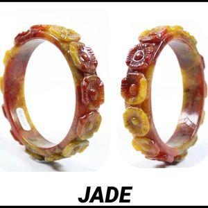 JADE RED  BROWN FLOWER BANGLE